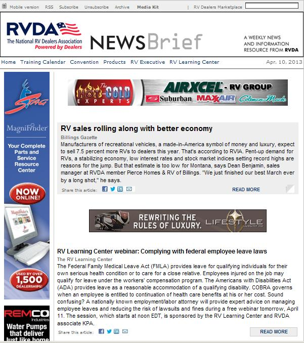 Recent e-mail Newsbrief for the RV Dealers Association, powered by MultiView